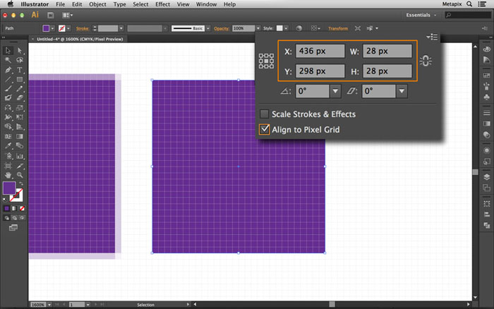 Align to Pixel Grid Medidas