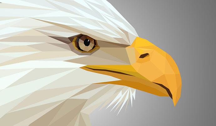 Illustração de uma águia em Low Poly