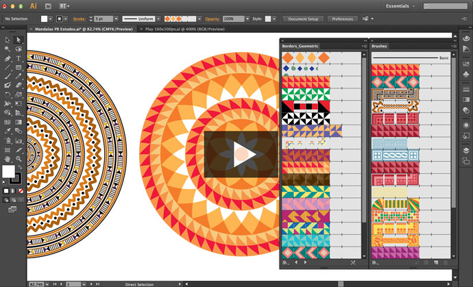 Vídeo Como criar uma Mandala com Pincél de Padrão