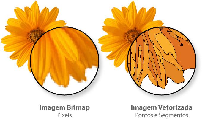 Imagem Bitmap x Imagem Vetorizada
