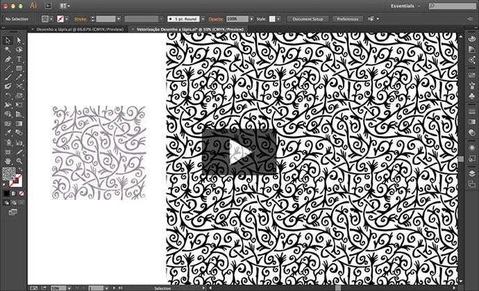 Vetorização de desenho a lápis e criação do padrão